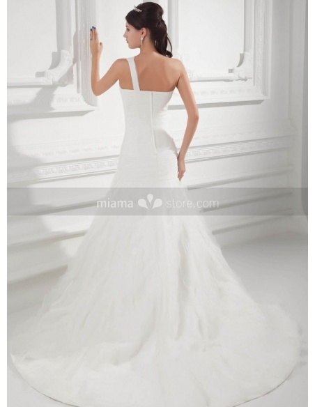 SANDRA - A-line Chapel train Organza One shoulder Weeding dress