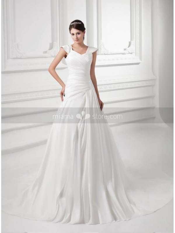 A line off the shoulder chapel train satin square neck for Off the shoulder satin wedding dress