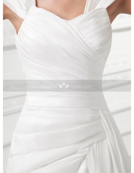 RUTH - A-line Off the shoulder Chapel train Satin Square neck Weeding dress