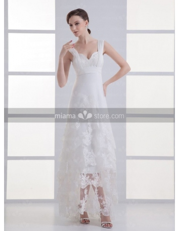 REBECCA - A-line Empire waist Sweetheart Cheap Court train Tulle Wedding dress