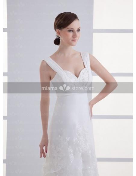 REBECCA - A-line Empire waist Sweetheart Cheap Court train Tulle Weeding dress