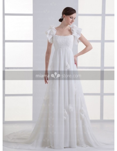 RACHEL - A-line Empire waist Vintage Cheap Chapel train Chiffon Low round/Scooped neck Weeding dress