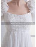 RACHEL - A-line Empire waist Vintage Cheap Chapel train Chiffon Low round/Scooped neck Weeding dress