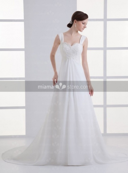 PRISCILLA - A-line Sweetheart Cheap Chapel train Chiffon Weeding dress