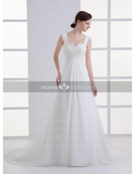 PRISCILLA - A-line Sweetheart Cheap Chapel train Chiffon Wedding dress