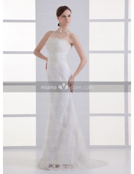 POLLY - Sheath Strapless Mermaid Court train Tulle Weeding dress