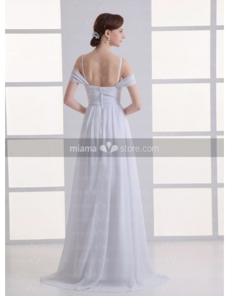 PEGGY - Empire waist Spaghetti straps Off the shoulder Cheap Court train Chiffon Square neck Weeding dress