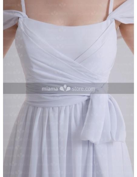 PEGGY - Empire waist Spaghetti straps Off the shoulder Cheap Court train Chiffon Square neck Weeding dress