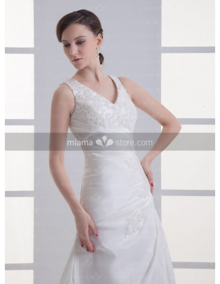 PAULINE - A-line V-neck Chapel train Satin Weeding dress