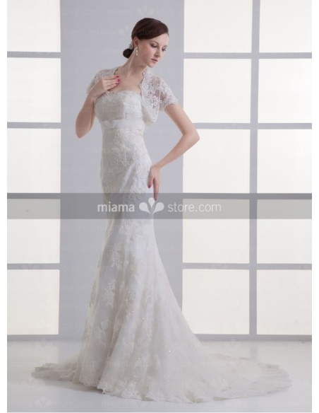 PAMELA - Empire waist Mermaid Sweetheart Chapel train Tulle Weeding dress