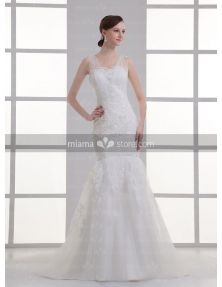 NICOLE - Mermaid V-neck Chapel train Tulle Weeding dress