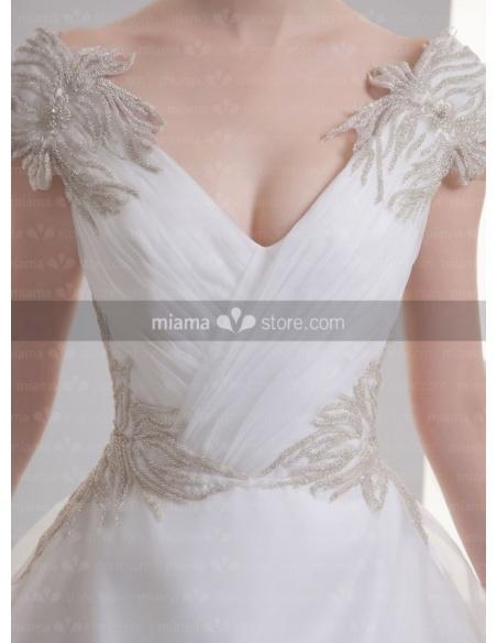 NATASHA - A-line V-neck Off the shoulder Chapel train Organza Weeding dress