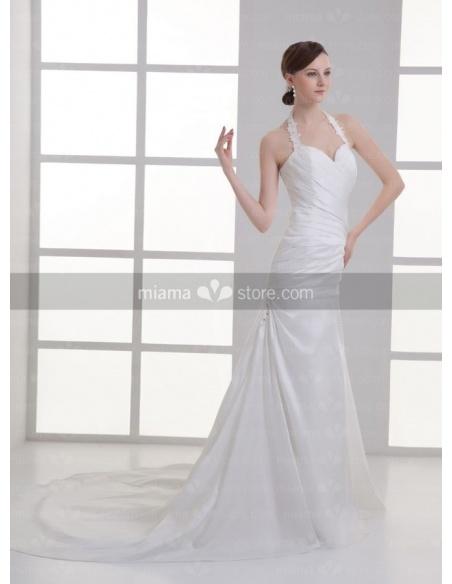 MIRIAM - A-line Halter Sweetheart Chapel train Satin Weeding dress