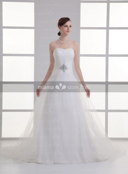ALYSA - A-line Sweetheart Chapel train Tulle Weeding dress