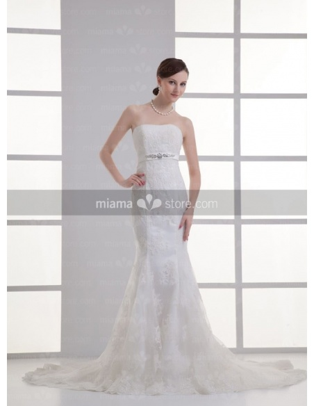 AMBER - Mermaid Strapless Empire waist Chapel train Tulle Weeding dress