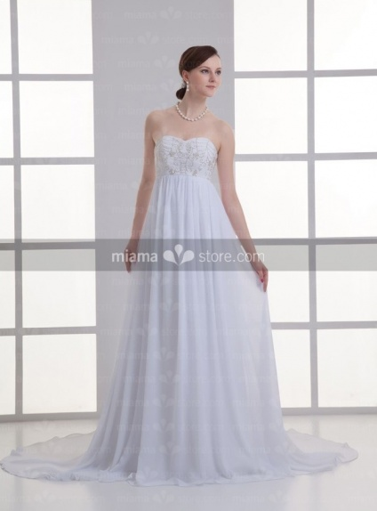 ANGEL - Empire waist Sweetheart Cheap Chapel train Chiffon Weeding dress