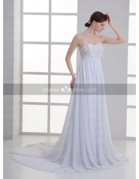 ANGEL - Empire waist Sweetheart Cheap Chapel train Chiffon Weeding dress
