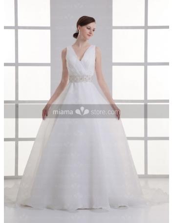 ADA - A-line V-neck Empire waist Cheap Chapel train Organza Wedding dress