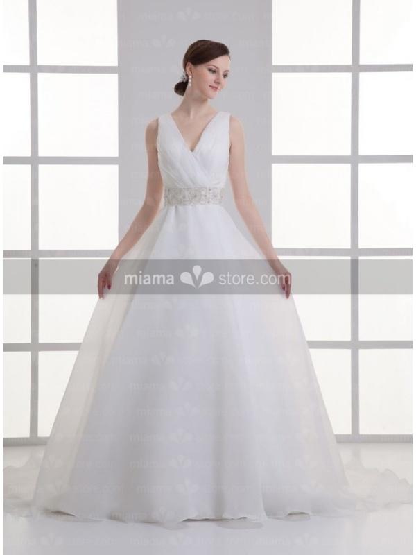 robe de mari e taille empire en organza d collet en v tra ne chapelle. Black Bedroom Furniture Sets. Home Design Ideas