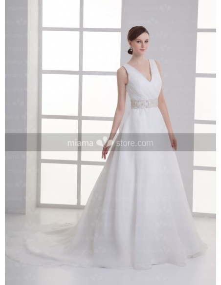 ADA - A-line V-neck Empire waist Cheap Chapel train Organza Weeding dress