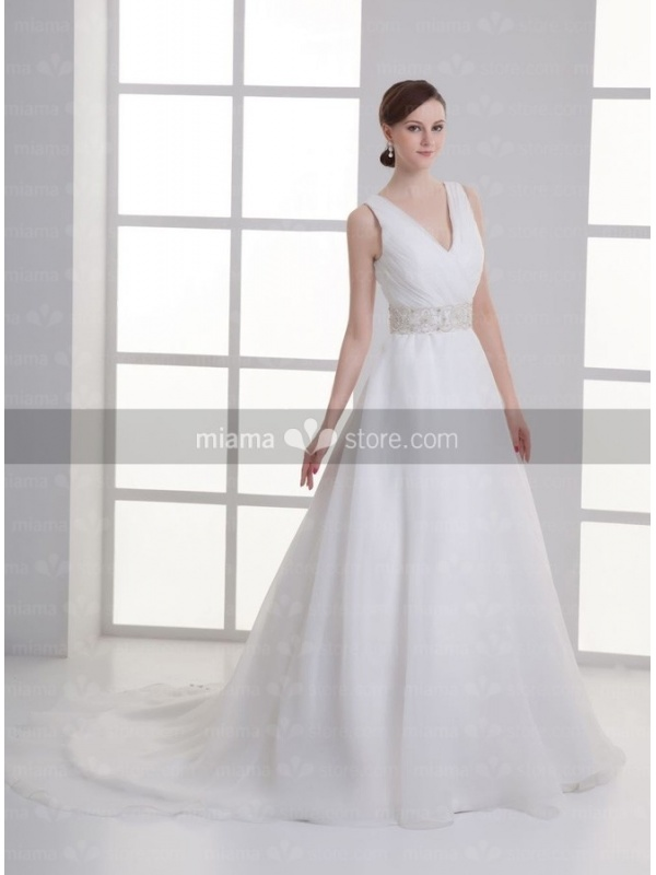 A-line V-neck Empire waist Cheap Chapel train Organza Wedding dress