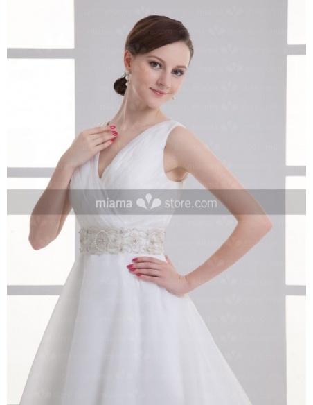 ADA - A-line V-neck Empire waist Cheap Chapel train Organza Weeding dress