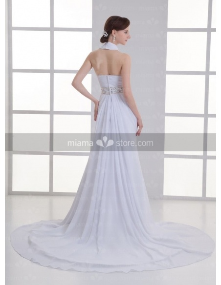 ADELAIDE - A-line Halter Cheap Chapel train Chiffon Weeding dress