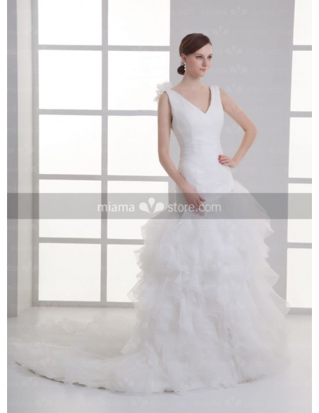 AGATHA - A-line V-neck Chapel train Organza Weeding dress