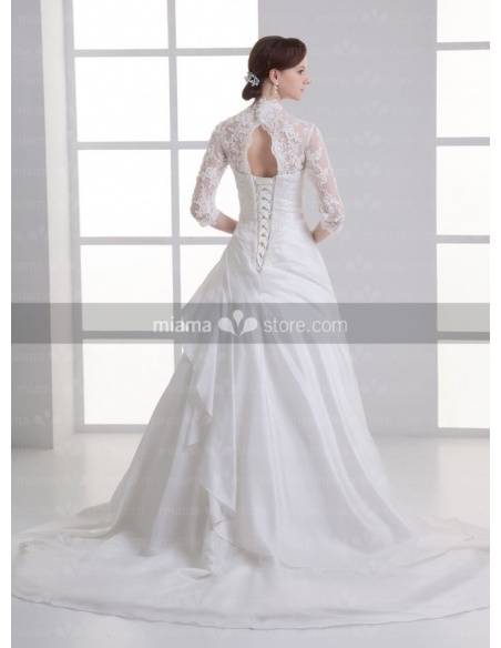 ALMA - A-line V-neck Chapel train Satin Weeding dress