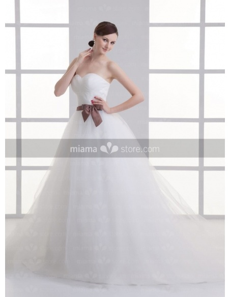 ANNABELLE - A-line Sweetheart Chapel train Tulle Weeding dress