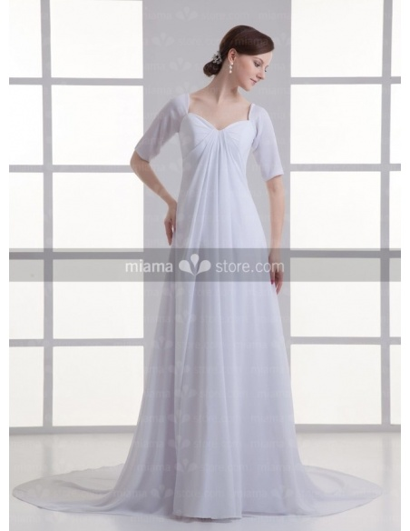 ANTONIA - A-line V-neck Cheap Chapel train Chiffon Wedding dress
