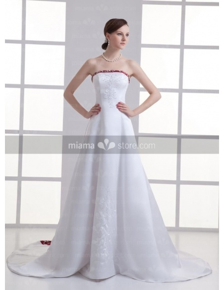 ARLENE - A-line Strapless Chapel train Satin Weeding dress