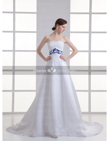 ASTRID - A-line Strapless Empire waist Chapel train Organza Weeding dress