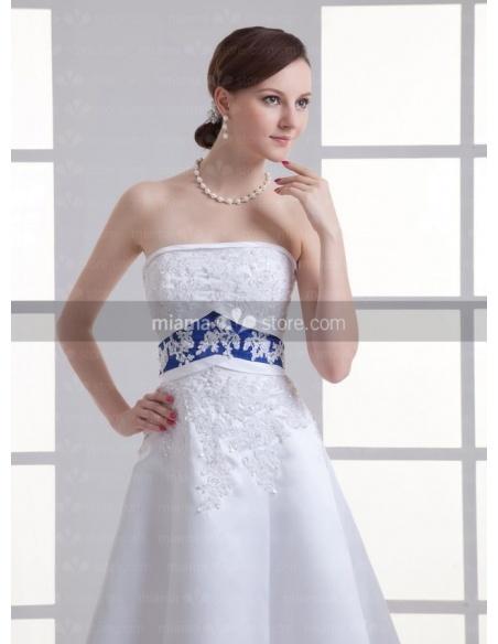 ASTRID - A-line Strapless Empire waist Chapel train Organza Weeding dress
