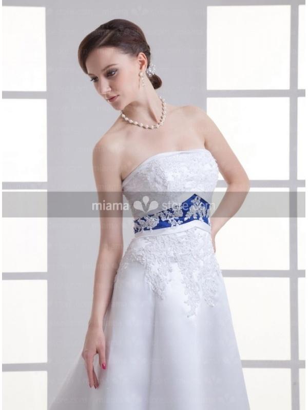robe de mari e taille empire bustier droit jupe trap ze et tra ne d 39 organza. Black Bedroom Furniture Sets. Home Design Ideas