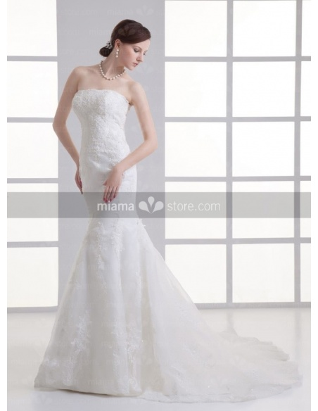 AUDREY - A-line Strapless Mermaid Chapel train Tulle Weeding dress