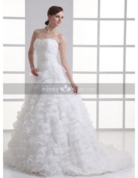 BERNICE - A-line Sweetheart Empire waist Chapel train Organza Weeding dress