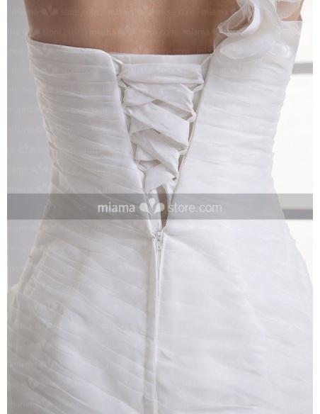 BERYL - A-line Strapless Chapel train Organza One shoulder Weeding dress