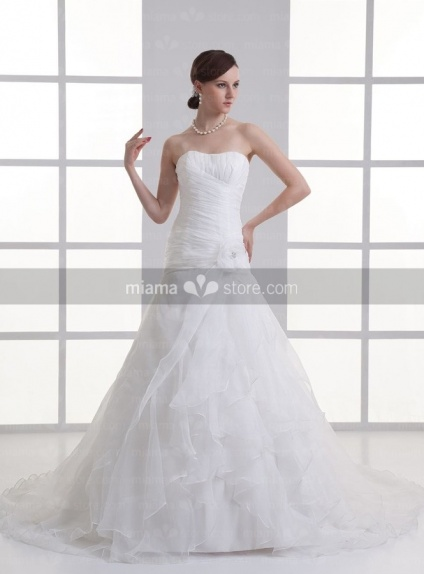 BETSY - A-line Strapless Chapel train Organza Weeding dress