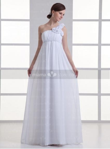 BEVERLY - Sheath Empire waist Cheap Court train One shoulder Weeding dress
