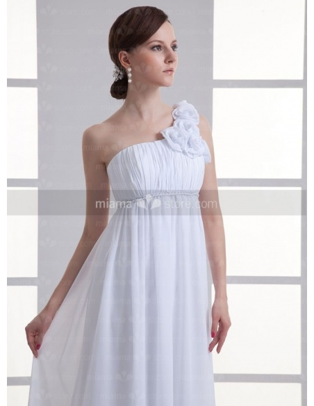 BEVERLY - Sheath Empire waist Cheap Court train Chiffon One shoulder Weeding dress