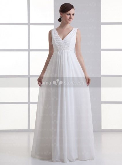 BLANCHE - Empire waist V-neck Cheap Floor length Weeding dress