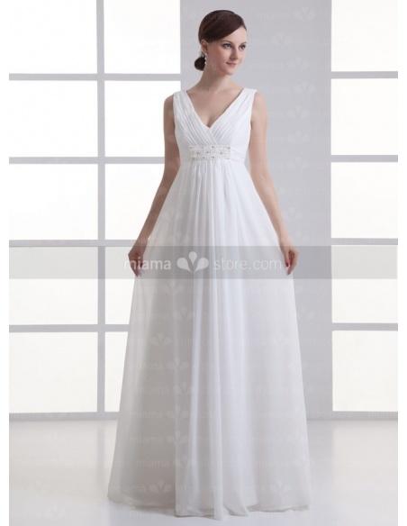 BLANCHE - Empire waist V-neck Cheap Floor length Chiffon Wedding dress