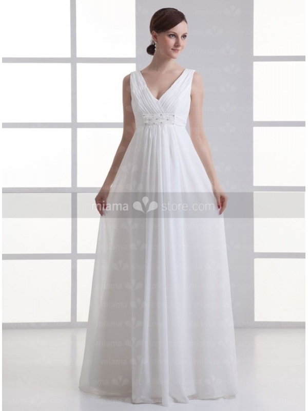Empire waist V-neck Cheap Floor length Chiffon Wedding dress