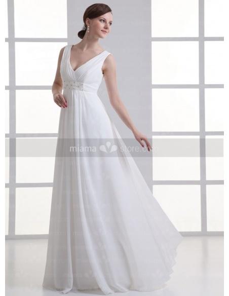 BLANCHE - Empire waist V-neck Cheap Floor length Chiffon Weeding dress