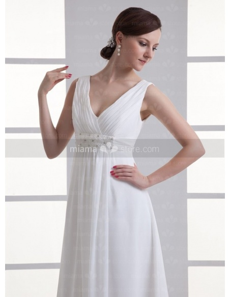 BLANCHE - Empire waist V-neck Cheap Floor length Chiffon Weeding dress