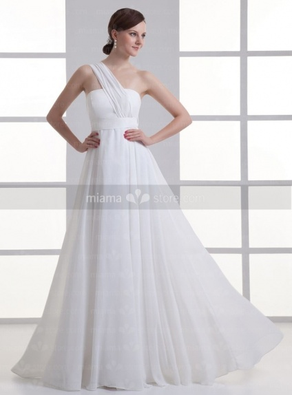 BBLYTHE - Empire waist Cheap Floor length One shoulder Weeding dress
