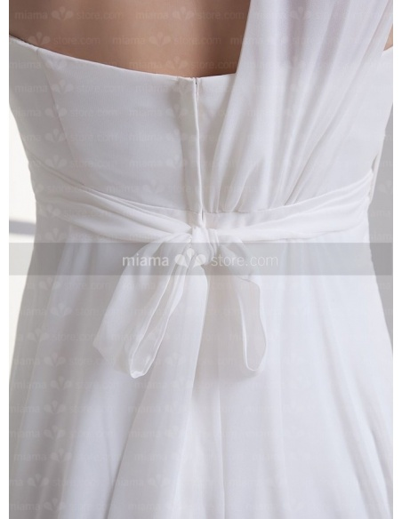 BBLYTHE - Empire waist Cheap Floor length Chiffon One shoulder Weeding dress
