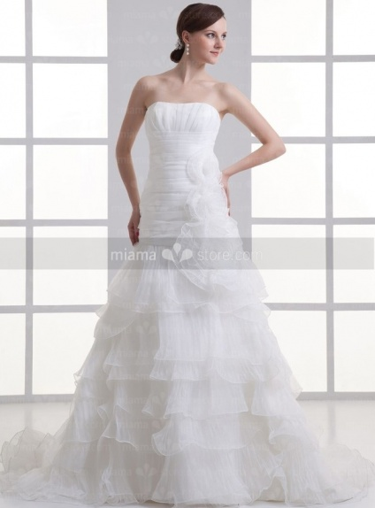 BONNIE - A-line Strapless Chapel train Organza Weeding dress