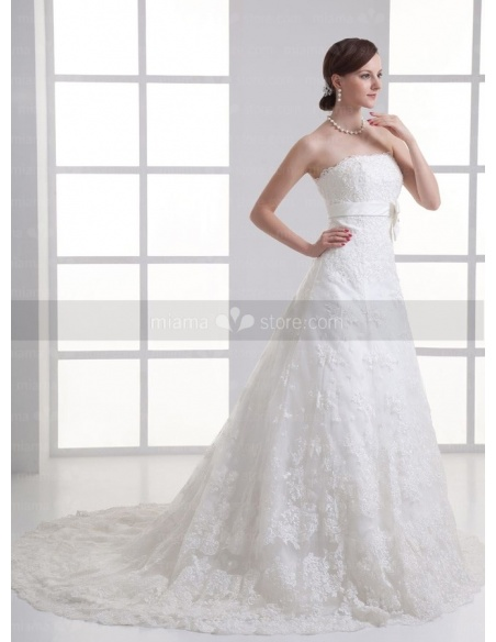 ABBY - A-line Strapless Empire waist Chapel train Tulle Weeding dress